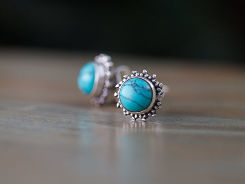 Flower Turquoise and Sterling Silver Stud Earrings