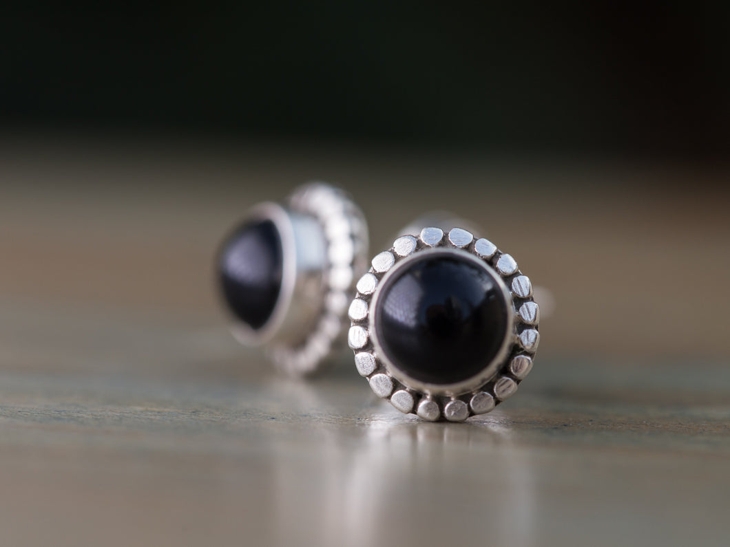 Onyx and Sterling Silver Button Earrings