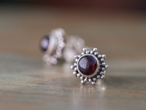 Flower Garnet and Sterling Silver Stud Earrings