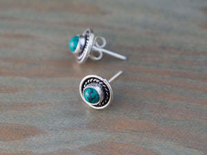 Turquoise and Silver Post Earrings