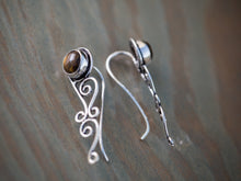 Load image into Gallery viewer, Silver and Tiger Eye Tribal Ear Climbers