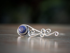 Silver and Lapis Lazuli Tribal Ear Climbers