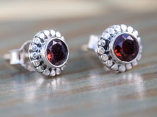 Load image into Gallery viewer, Garnet and Sterling Silver Button Earrings