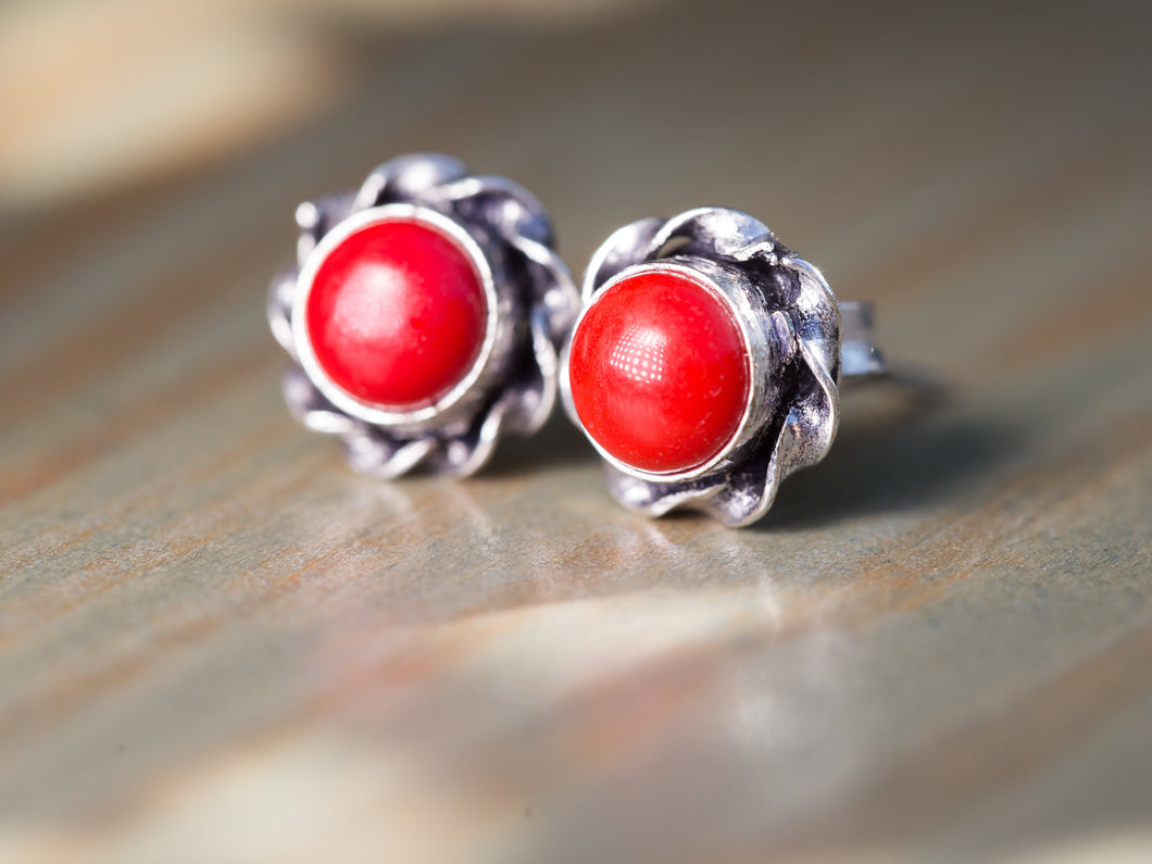 Red Coral and Silver Button Earrings