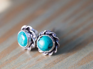 Turquoise and Silver Button Earrings