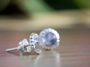 Moonstone and Sterling Silver Button Earrings