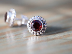 Garnet and Sterling Silver Button Earrings