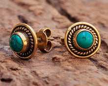 Load image into Gallery viewer, Turquoise Stud Earrings // Turquoise Earrings // Turquoise Ear Studs // Gemstone Earrings // Turquoise Post Earrings // Everyday Earrings