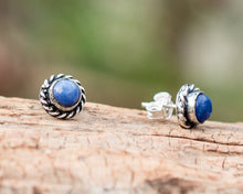 Load image into Gallery viewer, Lapis Earrings // Lapis Lazuli Stud Earrings // Lapis Ear Studs // Lapis Lazuli Earrings // Gemstone Earrings // Lapis Lazuli Post Earrings