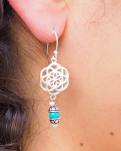Load image into Gallery viewer, Silver Dangle Earrings // Drop Earrings // Mandala Earrings // Seed Of Life Earrings // 925 Sterling Silver // sacred geometry earrings