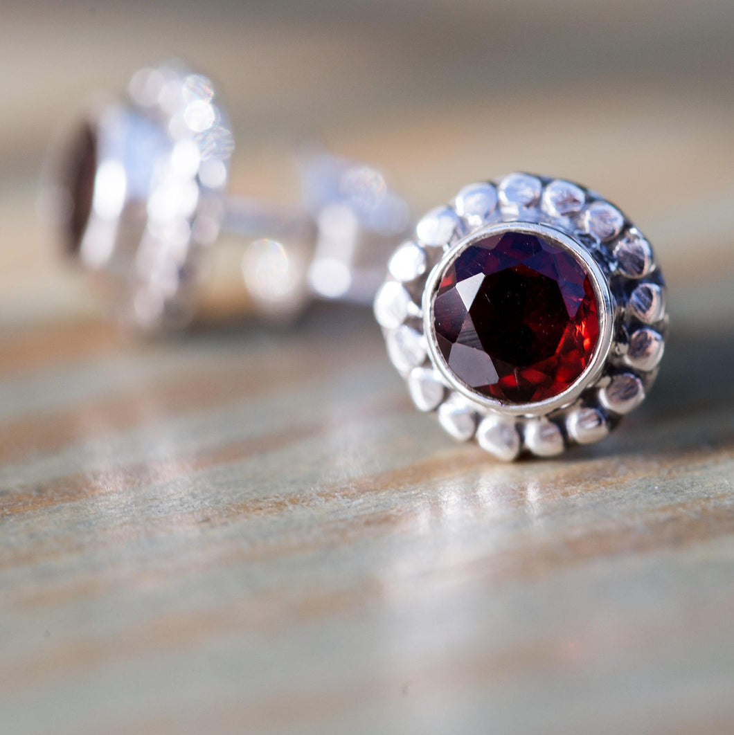 Sterling Silver Garnet Earrings, Garnet Studs, Sterling Silver Gemstone Stud Earrings, Maroon Studs, Everyday Studs, Garnet Post Earrings