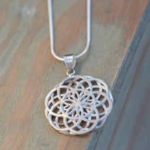 Load image into Gallery viewer, Seed of Life Necklace, Mandala Necklace Sterling, Sacred Geometry Necklace, Geometric Pendant Necklace, Large Silver Pendant Necklace