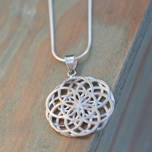 Seed of Life Necklace, Mandala Necklace Sterling, Sacred Geometry Necklace, Geometric Pendant Necklace, Large Silver Pendant Necklace