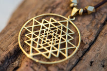 Load image into Gallery viewer, Sri Yantra Pendant Gold,Yoga Necklace for Women,Sacred Geometry Necklace,Yoga Necklace Gold,Long Boho Necklaces for Women,Gold Boho Necklace
