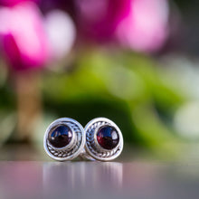 Load image into Gallery viewer, Silver Stud Earrings // Garnet Studs // Garnet Stud Earrings // 925 Sterling Silver Earrings // Garnet Post Earrings // Gemstone Studs