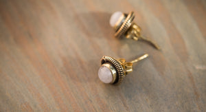 White and Gold Stud Earring, Brass Moonstone Earrings, Gold Button Earrings, Brass Post Earrings, Gold Gemstone Stud, Gold Moonstone Studs