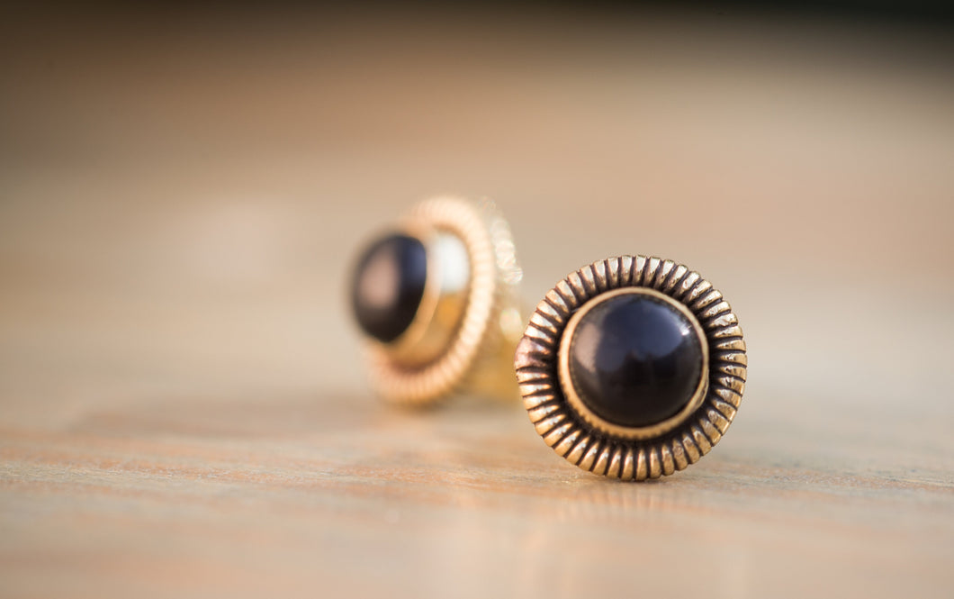 Gold and Black Stud Earrings, Black Button Earrings, Black Post Earrings, Brass Stud Earrings, Onyx Stud Earrings, Onyx Gold Earrings