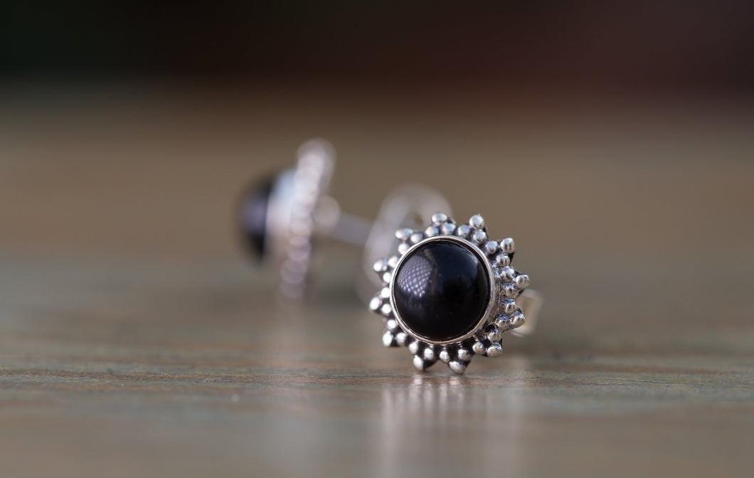 Sterling Silver Gemstone Stud Earrings, Onyx Sterling Stud,Sterling Silver Black Stud Earrings,Black Stud Earrings for Women,Button Earrings