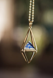 Lapis Lazuli Gold Necklace, Octahedron Necklace, Sacred Geometry Necklace, Large Brass Necklaces, Blue and Gold Statement Necklace