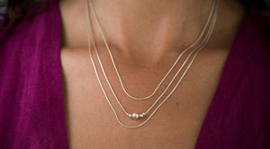 Sterling Silver Layered Necklace Set, Triple Necklace, Sterling Silver Multi Strand Necklace, Sterling Silver Layering Necklace Set