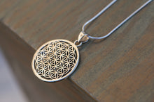 Load image into Gallery viewer, Flower of Life Pendant, Large Sterling Silver Pendant, Round Silver Pendant, Big Sterling Silver Pendant, Geometric Pendant, Healing Charm