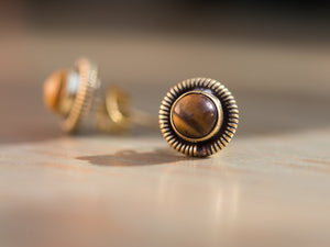 Tiger Eye and Gold Studs, Button Earrings Stud, Tiger Eye Post Earrings, Brass Post Earrings, Brown Gemstone Earrings, Gold Button Earrings