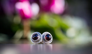Sterling Silver Gemstone Stud Earrings, Everyday Stud Earrings, Sterling Silver Garnet Earrings, Maroon Studs, Sterling Silver Boho Earrings