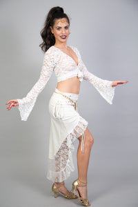 White Lace Wrap Crop Top w Long Bell Sleeves for Women | White Top for Festivals, Belly Dance, Evenings and More | Boho Bridal Lace Crop Top