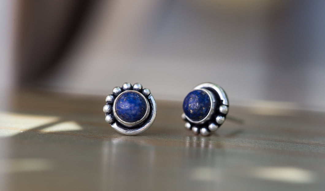 Lapis Lazuli Silver Stud Earrings, Button Earrings Stud, Silver Stud Earrings Gemstone,Silver Post Earrings,Round Stud Earrings,Silver Post