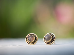 Tiger Eye Post Earrings, Brass Post Earrings, Brown Gemstone Earrings, Tiger Eye and Gold Studs, Stud Button Earrings, Gold Gemstone Stud