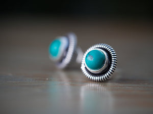 Turquoise Stud Earrings for Women, Turquoise Gemstone Earrings, Turquoise Post Earrings, Silver Turquoise Stud Earrings, Turquoise Button