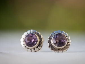 Sterling Silver Gemstone Stud Earrings, Sterling Silver Amethyst Stud Earrings , Amethyst Post Earrings , Amethyst Earrings Bohemian