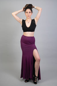 Flowing Purple Mermaid Maxi Skirt with a Slit for Women | Bally Dance Long High Waist Boho Skirt | Sexy Tango Dance and Festival Clothing