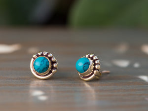 Turquoise Stud Earrings Gold, Turquoise Brass Earrings, Gemstone Post Earrings, Turquoise Gemstone Earrings,Gold Button Earrings,Brass Studs