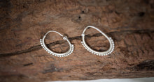 Load image into Gallery viewer, Silver Hoop Earrings for Every Day and Evening | Boho Chic Medium Hoops Unique Tribal 925 Sterling  | Bohemian Silver Earrings  for Women