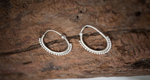 Silver Hoop Earrings for Every Day and Evening | Boho Chic Medium Hoops Unique Tribal 925 Sterling  | Bohemian Silver Earrings  for Women
