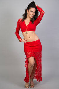 Unique Red Lace Asymmetrical Skirt for Women | Gypsystyle Clothing for Burning Man Festivals, Tribal Fusion Dance and Many More…