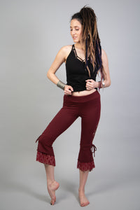 ATS Maroon Lace Up Leggings for Tribal Fusion Dance etc. | American Tribal Style Bellydance Lace Bottoms for Women | Hippie Laced Leggings