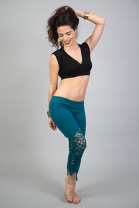 ATS Turquoise Lace Leggings for Festivals, Tribal Fusion Dance etc. | American Tribal Style Bellydance Pants for Women | Boho-Hippie Tights
