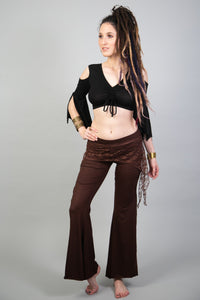 ATS Brown Skirt over Leggings Pants for Festivals, Tribal Fusion Dance etc. | American Tribal Style Bellydance Flare Bell Bottoms for Women