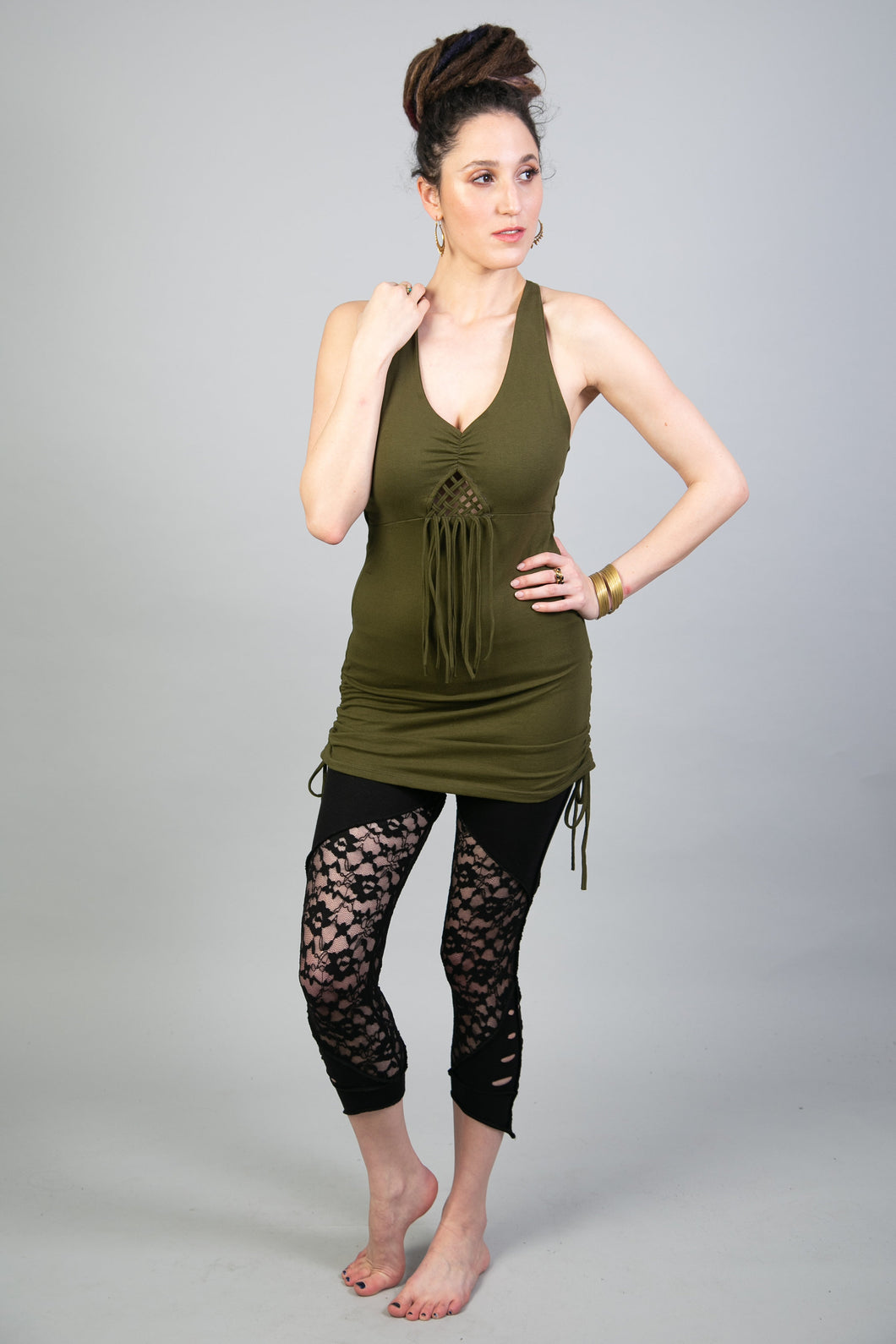 Olive Green Boho Chic Sexy Tunic Dress for Women | Little Dress with Sacred Geometry Jewelry for Summer Festivals and Many More…