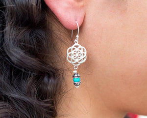 Silver Dangle Earrings // Drop Earrings // Mandala Earrings // Seed Of Life Earrings // 925 Sterling Silver // sacred geometry earrings