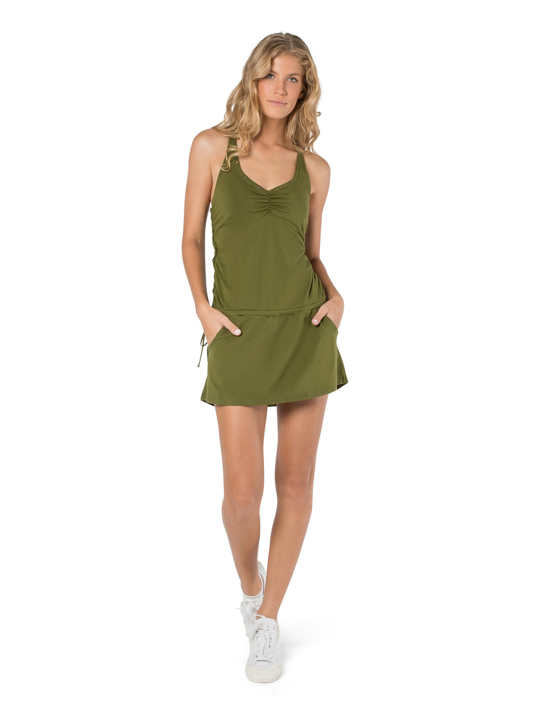 Dress for Women, Mini Dress, Boho Dress, Pixie Dress, Festival Clothes, Tank Dress, Hippie Fashion, Green Dress, Open Back Tank, Sexy Tunic