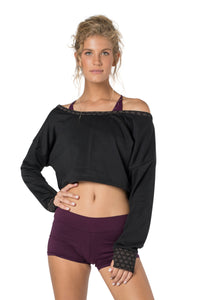 Black Crop Top for Women, Long Sleeve Sweatshirt for Women, Pullover Shirt, Off the Shoulder Shirt, Boho Wear, Yoga Top, Festival Shirt