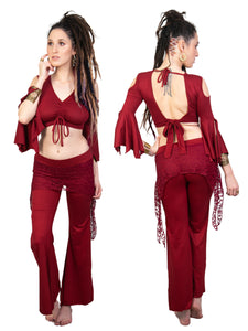 Sexy Red Open Back Crop Salsa Top for Woman with Boho-Hippie Flare Bell Sleeves | Women's Tribal Belly Dance Open Shoulder Backless Blouse