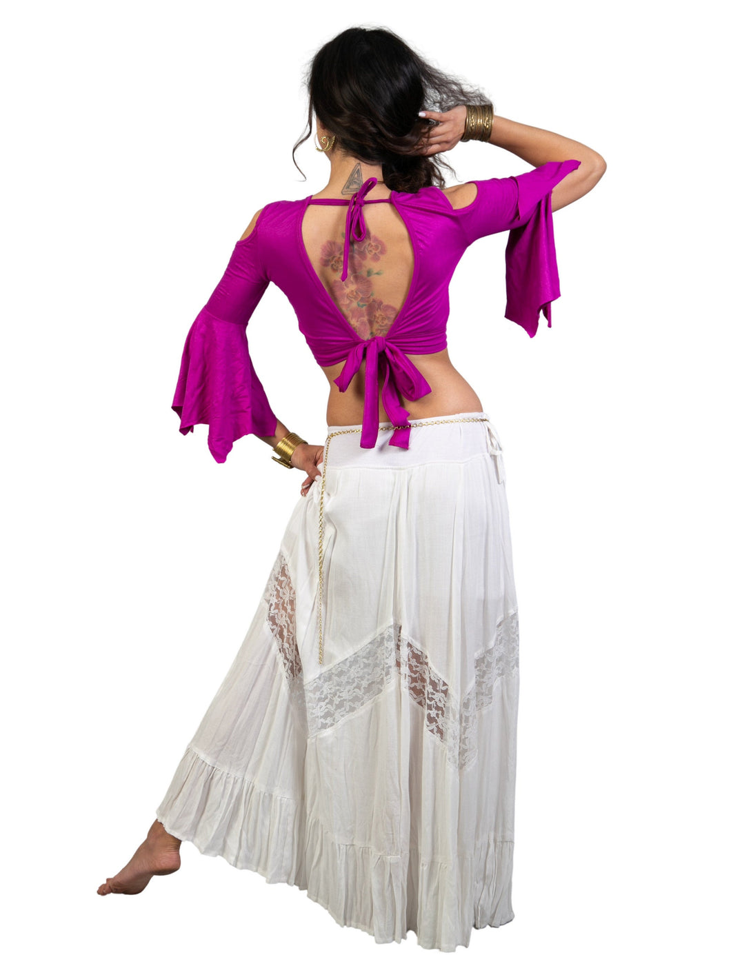 Open Back and Cold Shoulder Crop Belly Dance Top for Woman with Boho-Hippie Flare Bell Sleeves| Women's Tribal Open Shoulder Backless Blouse