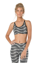 Load image into Gallery viewer, Women's Crop Top, Yoga Top, Black and White Top, Open Back Top, Sports Fitness Top, Activewear, Dance Top, Gym Clothes, Bralette Top.