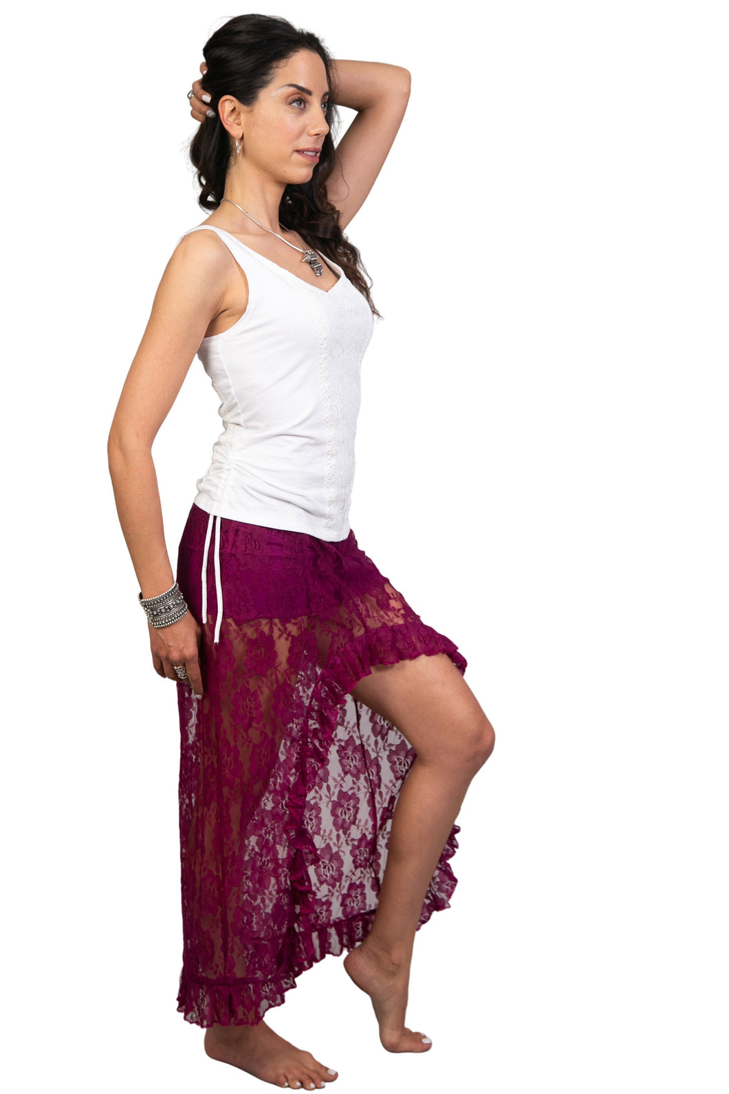Unique Lace Skirt for Women | Festival Asymmetrical Skirt | Gypsystyle Clothing for Burning Man Festivals, Tribal Fusion Bellydance & More