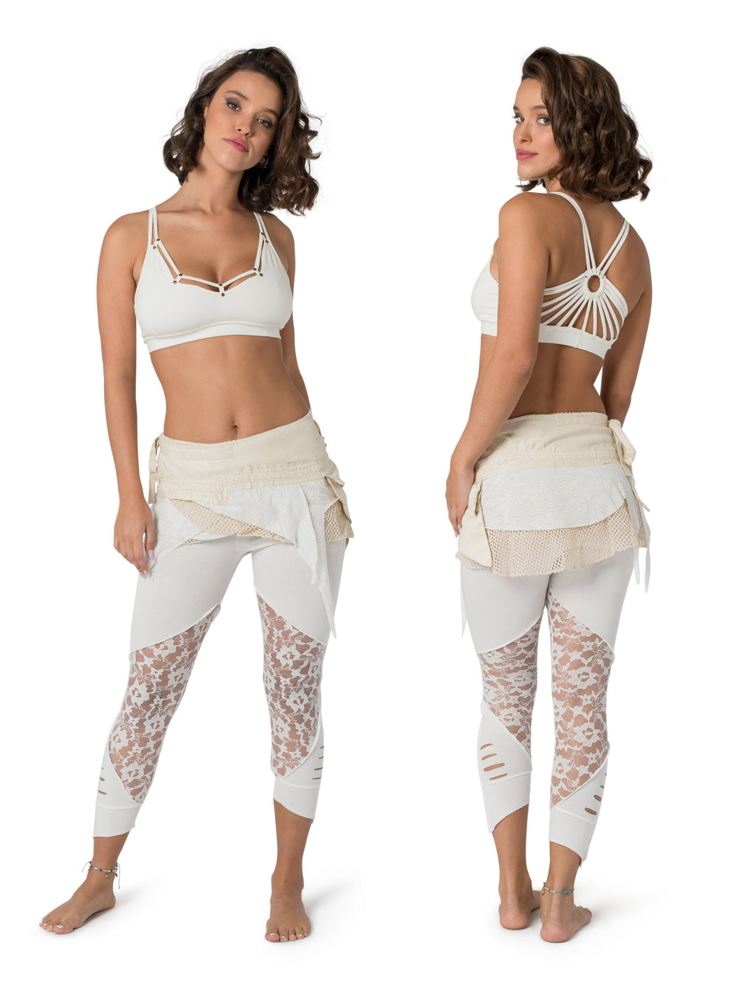 Activewear, Skirt and Leggings, White Outfit for Women, Yoga Wear, Pixie Skirt, Tribal Leggings, Festival Clothes, Belly Dance, Hippie Wear.