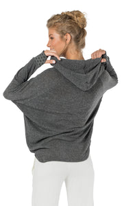 Hoodie for Women, Light Sweater, Pullover Sweatshirt, Long Shirt for women, Festival Top, Yoga Shirt, Grey Top, Sport Wear, Long Back Top.